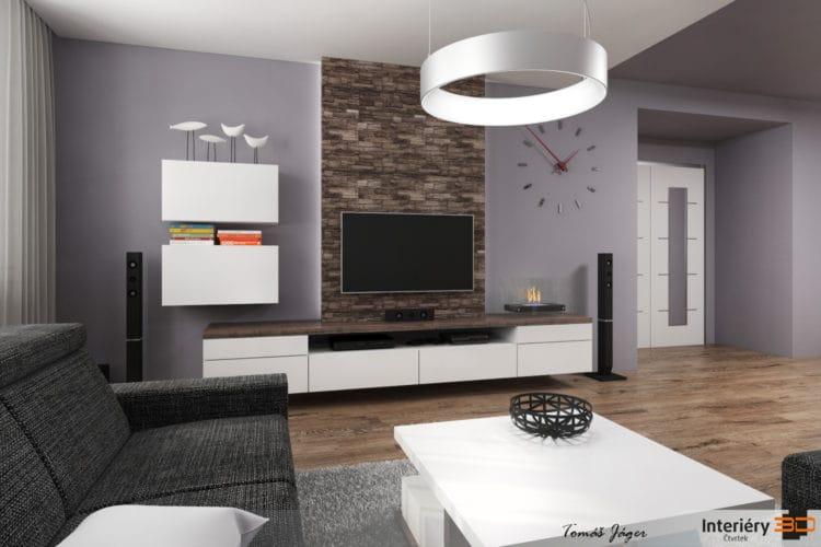 Moderní obývací pokoj s kuchyňskou linkou