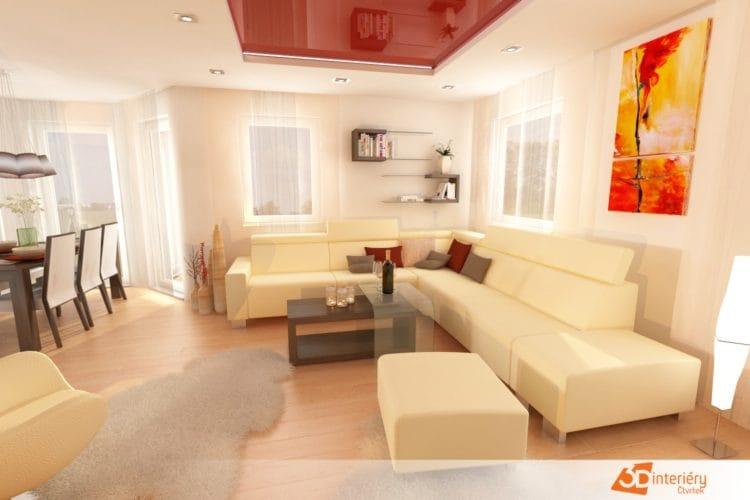 Návrh obývacího pokoje s jídelnou