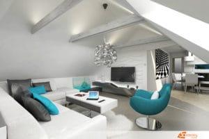 Návrh obývacího pokoje v paneláku