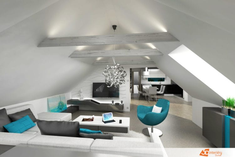 Podkrovní obývací pokoj – Praha