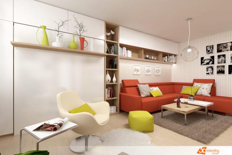 Design – obývací pokoj s ložnicí