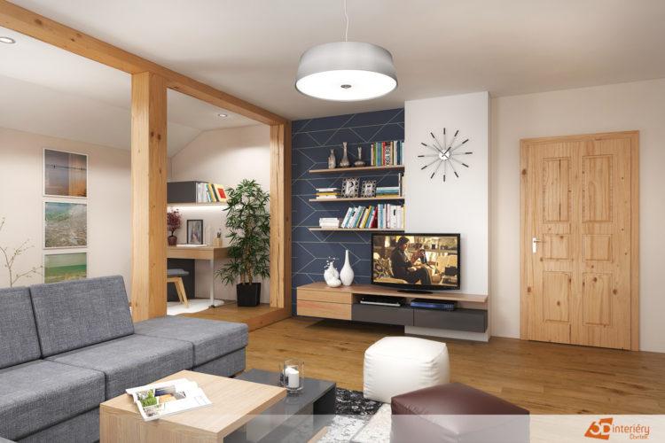 Design – obývacího pokoje s pracovnou